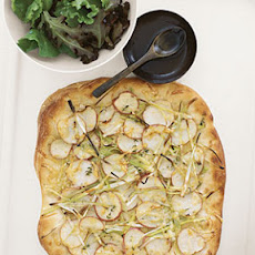 Potato and Leek Flat Bread with Greens