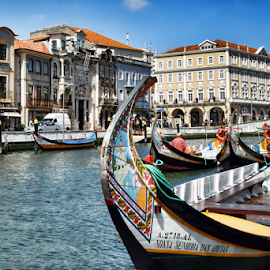 City of Aveiro by Antonio Amen - City,  Street & Park  Street Scenes ( aveiro, moliceiros, boats, river.sea, tourism, art deco )