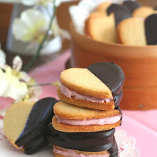 Chocolate Dipped Strawberry Cream Sandwich Cookies