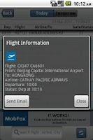 Screenshot of Beijing Airport Flight Board