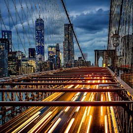 Twilight - Brooklyn Bridge by Craig Boudreaux - City,  Street & Park  Skylines ( urban, brooklyn bridge, manhattan, new york, landscape, dusk, evening, brooklyn )