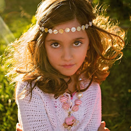 Beautiful Eyes by Debbie Heisler - Babies & Children Child Portraits ( princess, headband, beautiful, curls, children, rim light, evening, necklace, sun, portrait, eyes )