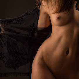 Open by Tomas Fensterseifer - Nudes & Boudoir Artistic Nude ( torso, bodypart, low key, nightgown )