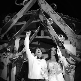 Teo & Mary by Jo Polyxromos - Wedding Bride & Groom ( black and white, wedding, greece, people )