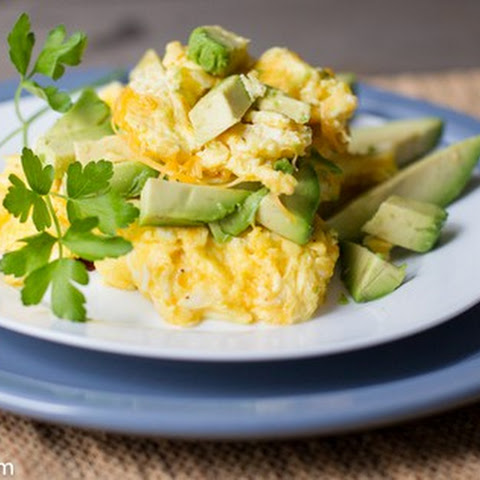 Scrambled Eggs with Avocado, Onion and Cheddar