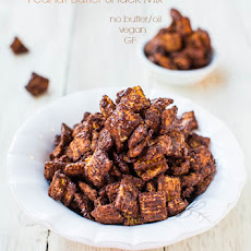 Skinny 100-Calorie Chocolate Peanut Butter Snack Mix (vegan, GF, no butter/oil)