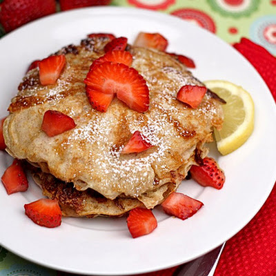 Lemon Cottage Cheese Pancakes with Strawberries