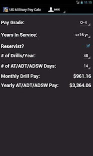 US Military Pay Calc screenshot for Android