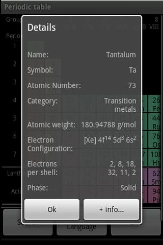 periodictable for android screenshot