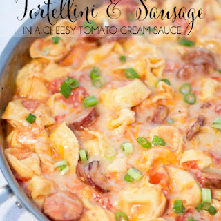One Pot Tortellini and Sausage in Tomato Cream Sauce