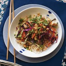 Rice Noodle Salad with Smoked Tofu and Herbs