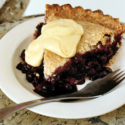 Blueberry Pie with Cornmeal Crust and Lemon Cream