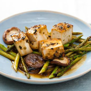 Miso-Glazed Tofu with Pan-Seared Shiitakes and Asparagus