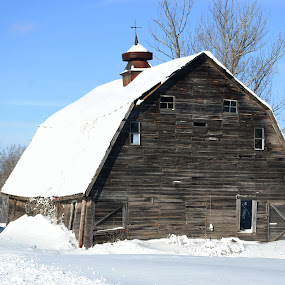 Weathered Barn by Ken Orr - Buildings & Architecture Decaying & Abandoned ( barn, snow, weather,  )