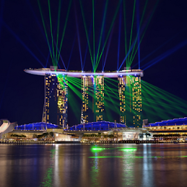 Light of Marina bay  by Chatchai Lakamankong - Buildings & Architecture Office Buildings & Hotels ( lotus, laser, show, marina, singapore )