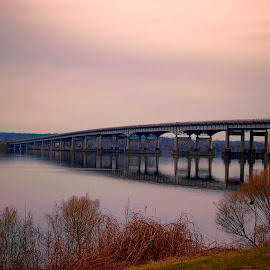 Bridge over Arkansas River by Lisa Brooks - Buildings & Architecture Bridges & Suspended Structures ( bridge, river )