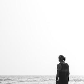 Moment by Rachel Morris - People Portraits of Men ( water, black and white, ocean, beach, people, man )