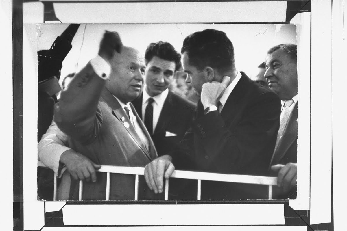 Nikita Khrushchev and VP Richard Nixon at the American National Exhibition in 1959