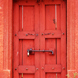 Wooden Door by Devraj Biswas - Buildings & Architecture Homes ( wooden, red, ancient, door )