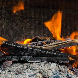 Fireplace  by Monika Tržić - Abstract Fire & Fireworks ( wood, firework, coal, fireplace, fire,  )