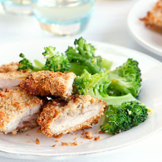 Crisp Parmesan Chicken With Garlic And Lemon Broccoli