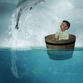 Aku dan Lumba-Lumba by Ilham Abdi - Digital Art Things ( #child #animal #sea #water #lanscape #manipulation )