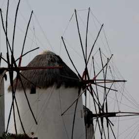 Windmill by Lynn Morley - Buildings & Architecture Other Exteriors ( wind, free, red, blue, greece, air, fun, windmill,  )