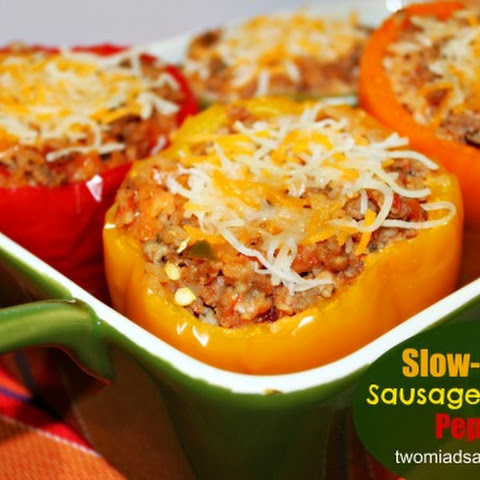 Freezer Friendly Slow-Cooker Sausage-Stuffed Peppers
