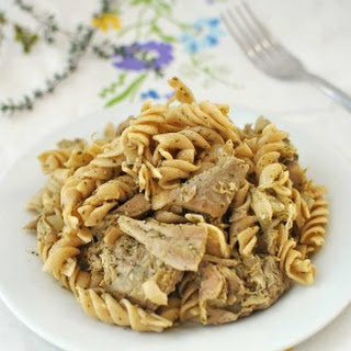 Leftover Turkey Pesto Pasta
