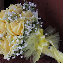 Bouquet by Marsha Biller - Wedding Details ( bouquet, wedding, baby breath, yellow roses, flowers, flower )