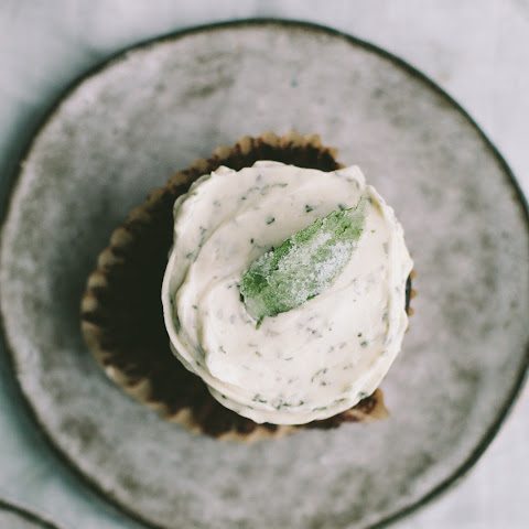 Chocolate Cupcakes with Fresh Mint Buttercream