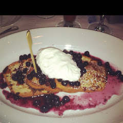 GF French toast with blueberries, fresh whipped cream & blueberry syrup