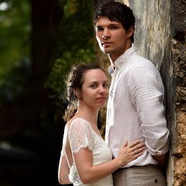 In the ruins by Andrew Morgan - Wedding Bride & Groom ( love, old, zanzibar, wedding, ruins, heritage )
