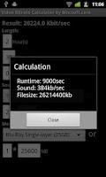 Screenshot of Bitrate Calculator