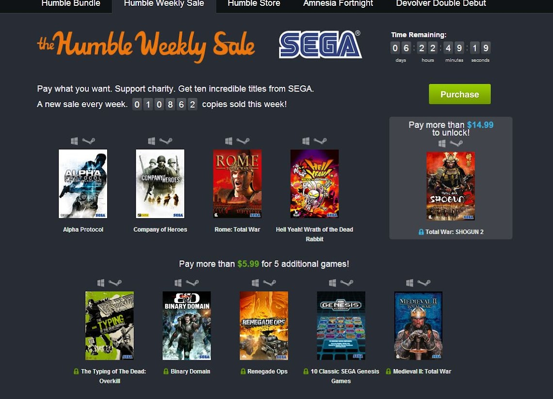 SEGA offering up a massive Humble Bundle