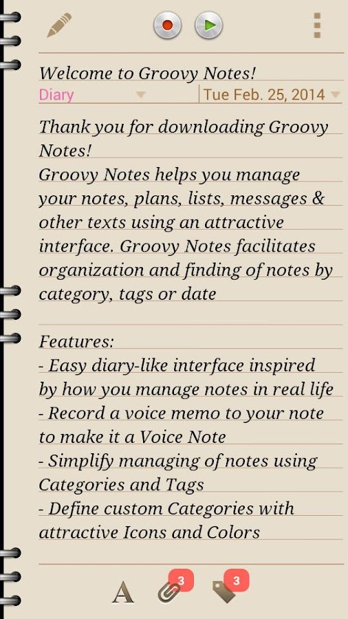 Groovy Notes - Personal Diary Screenshot 1