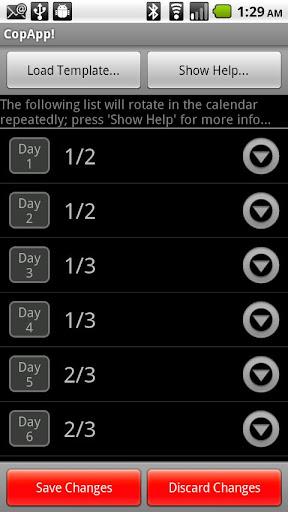 CopApp Calendar Schedule