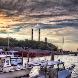 Boats under sunset by Yutong Pang - Transportation Boats ( clouds, sunset, factory, beach, boat, sun )