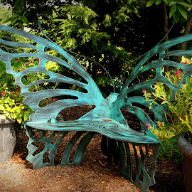 Butterfly bench, Hershey Gardens (PA) by Lori Rider - Artistic Objects Other Objects