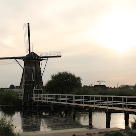 Windmills by Poornima Raju - Buildings & Architecture Other Exteriors ( water, holland, bridge, windmills )