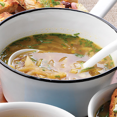 Five-Onion Soup with Scallion Crostini