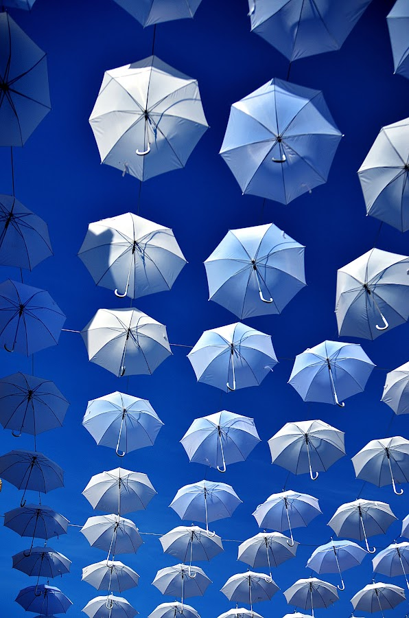 The White and Blue by Ibrahim Samsudin - Artistic Objects Other Objects ( umbrellas, sky, blue, white, floating )