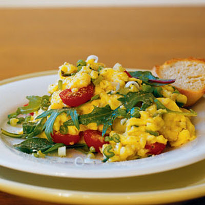 Scrambled Eggs with Asian Greens