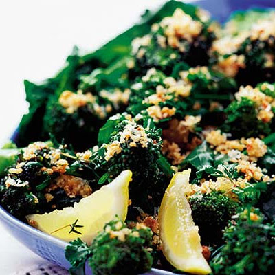 Purple sprouting broccoli with Parmesan & herbed crumbs