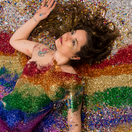 rainbow girl by Amelia Falk - People Body Art/Tattoos ( water, body, splatter, frozen, droplets, human, kalamazoo, drip, michigan, liquid, designs, stopped, color, amelia falk, tempera, motion, glitter, black, covered )