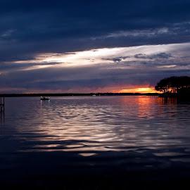 Fire in the Sky by Ian Van Schepen - Landscapes Waterscapes ( orange, nature, waterscape, blue, sunset, fine art photography, lake, boat, dusk, evening, dock, orange. color,  )
