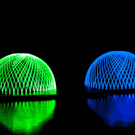 Two Domes by Andro Andrejevic - Abstract Light Painting ( light painting, blue, green, reflections, long exposure, domes )