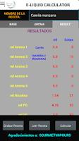 Screenshot of Calcula tus E-Liquidos