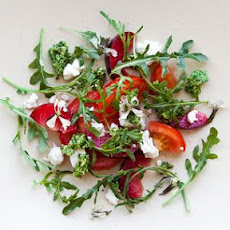 Heirloom Tomato and Plum Salad with Raspberry Vinaigrette, Goat Cheese and Arugula Pesto