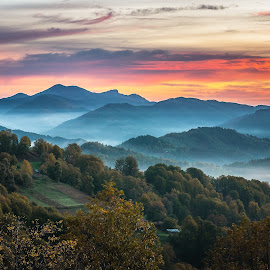Mountains and fog by Alexander Stoyanov - Landscapes Mountains & Hills ( clouds, orange, mountains, sky, fog, blue, green, trees, forest, sunrise )